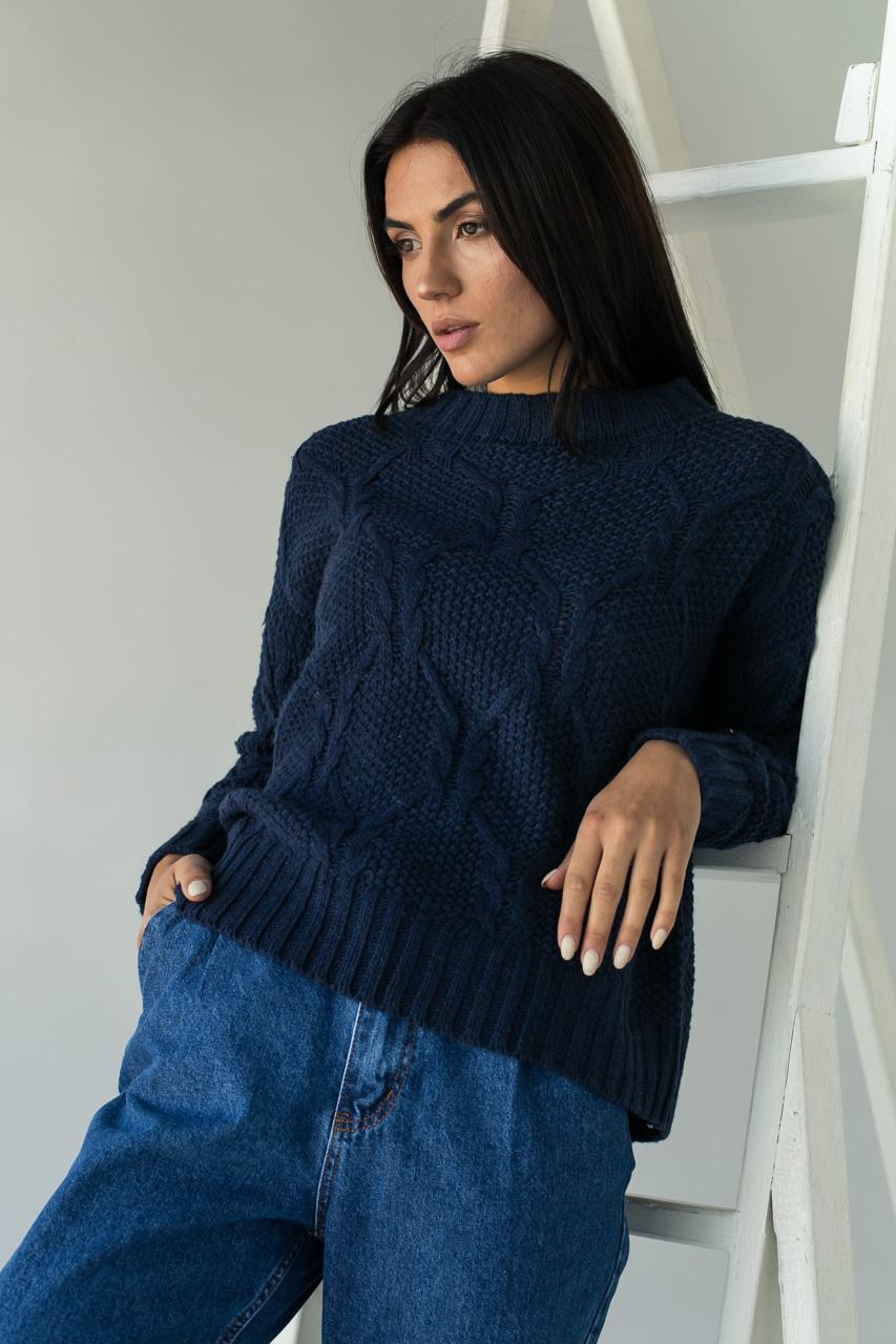 Джемпер ажурной толстой вязки с красивым узором LUREX - темно-синий цвет