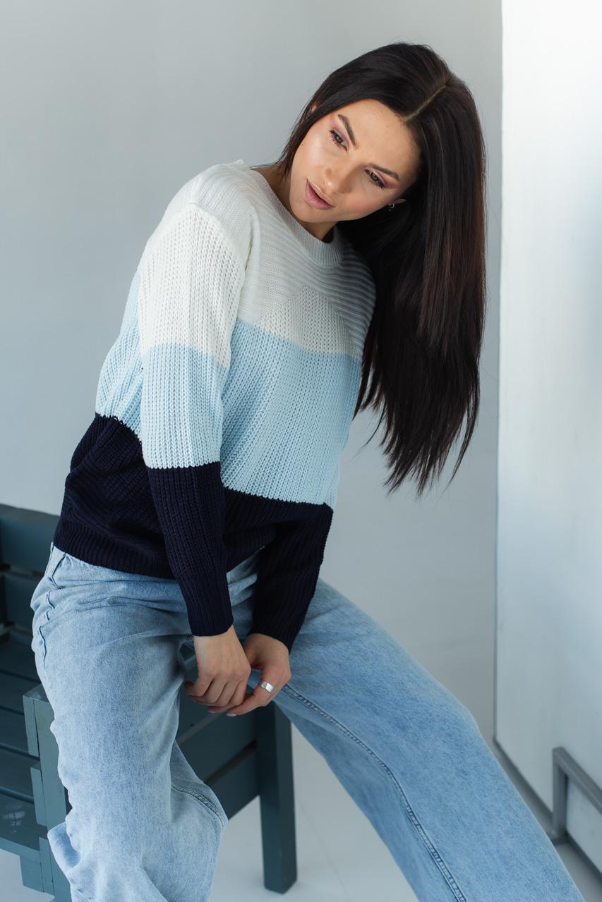 Джемпер с широкими разноцветными полосками LUREX - темно-синий цвет