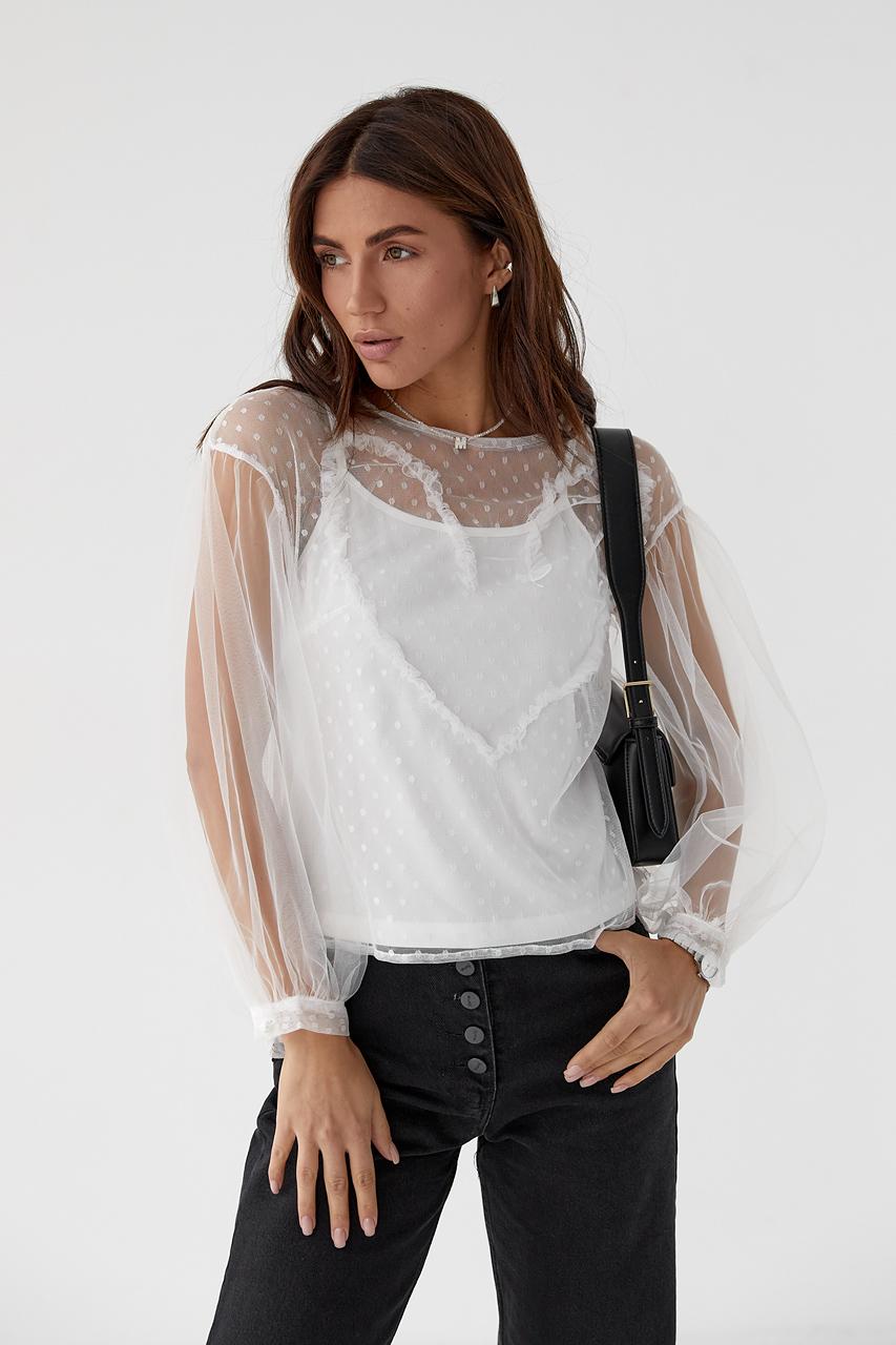Легкая блуза из прозрачного фатина Paccio - белый цвет