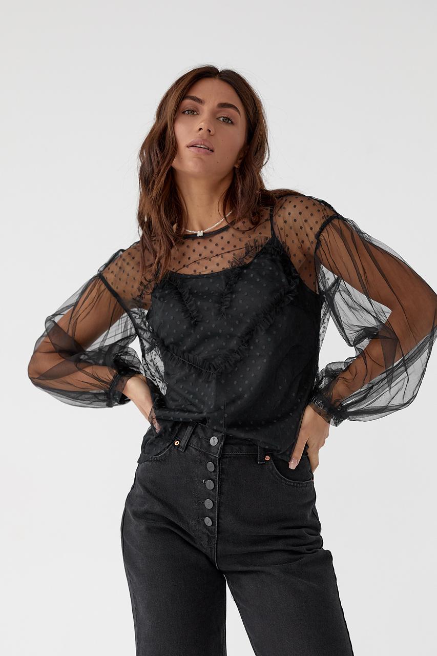 Легкая блуза из прозрачного фатина Paccio - черный цвет