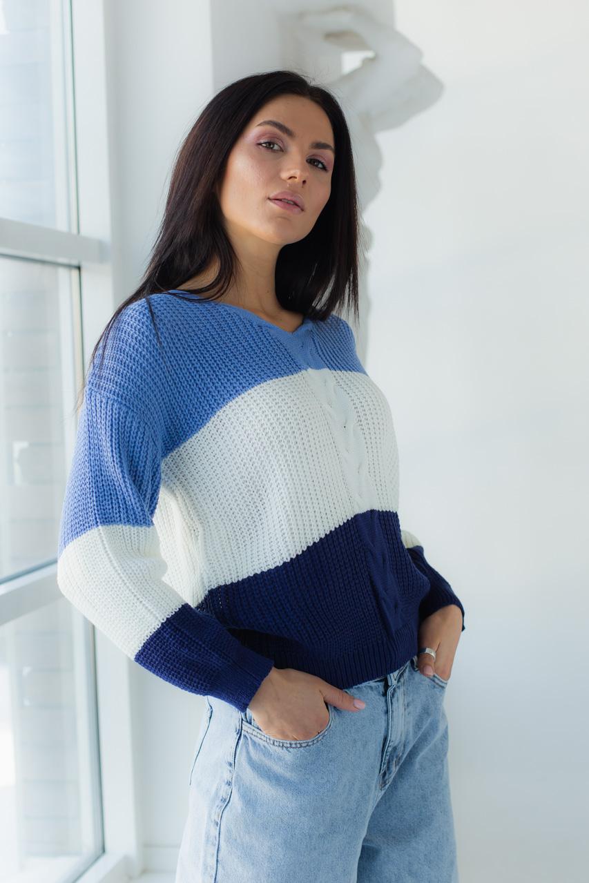 Полосатый пуловер с косой LUREX - синий цвет