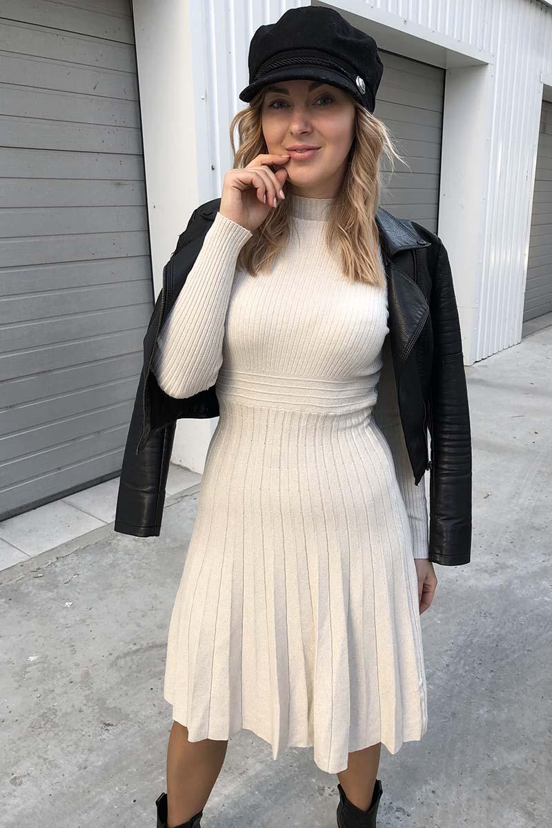 Плиссированное платье с люрексом Unigirl - молочный цвет