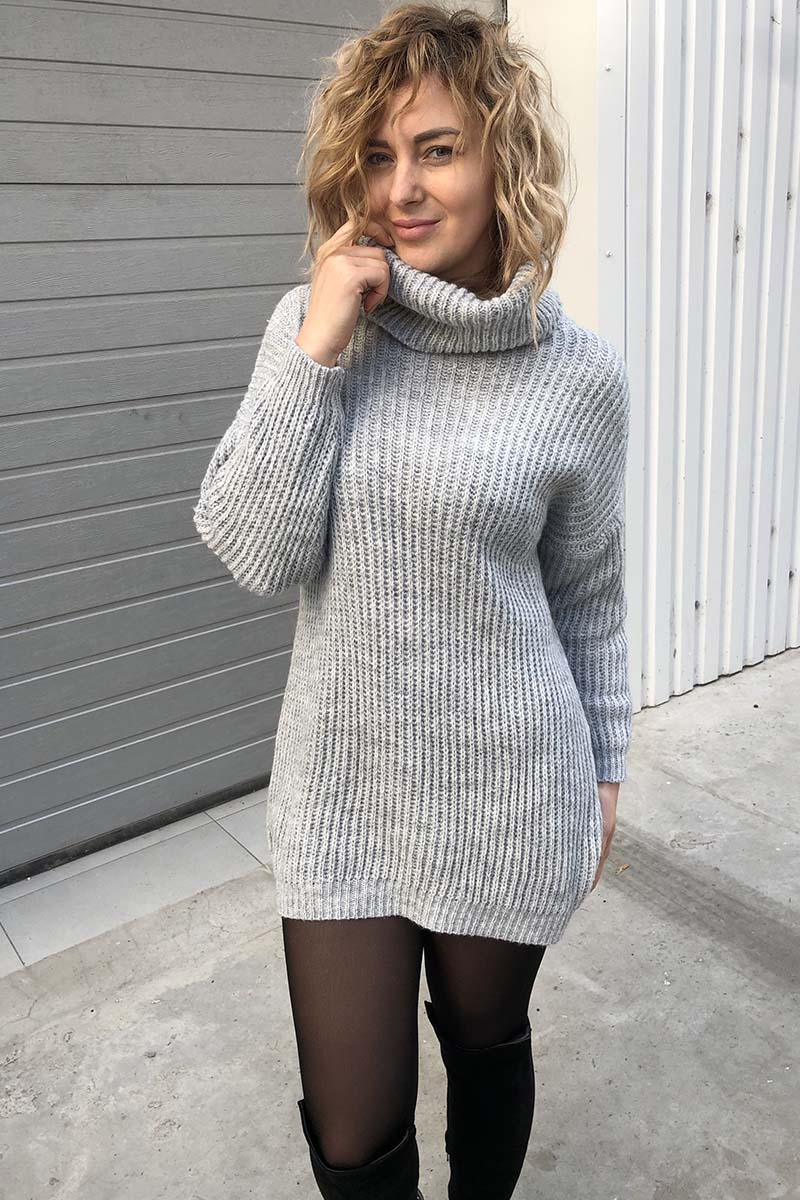 Объемный свитер-туника LUREX - серый цвет