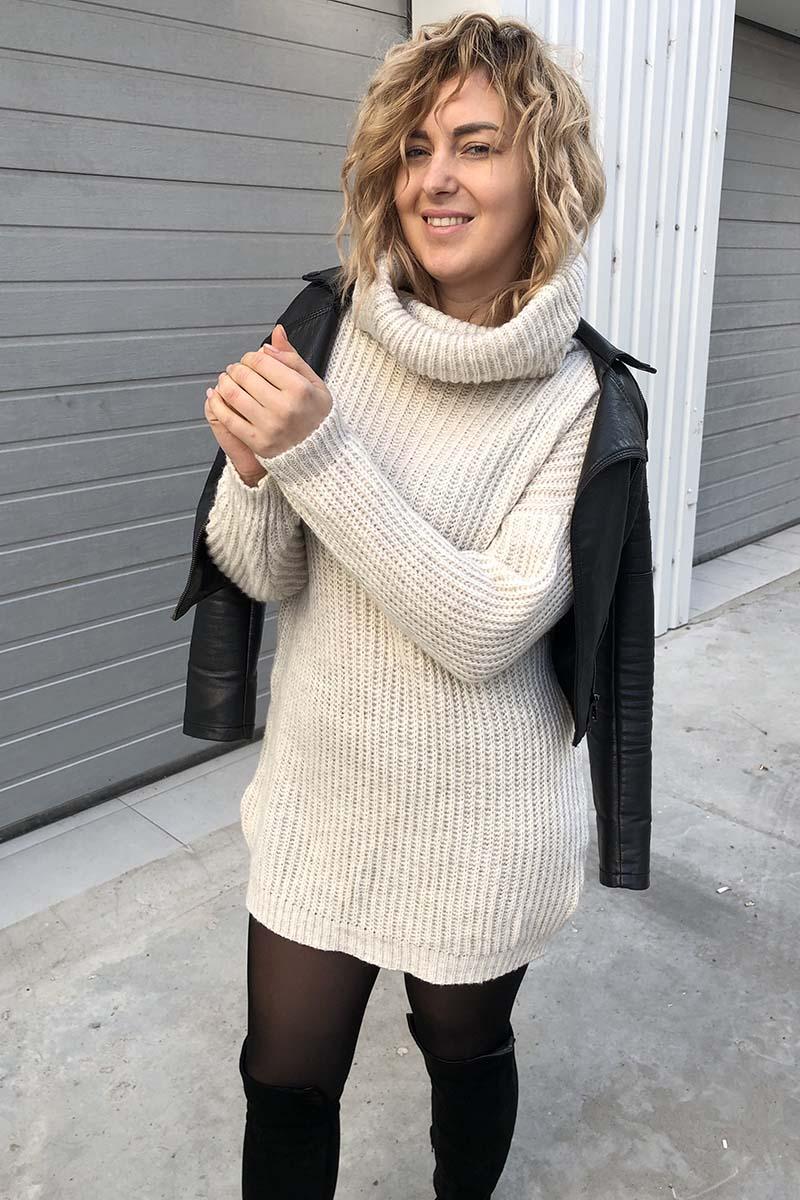 Объемный свитер-туника LUREX - молочный цвет