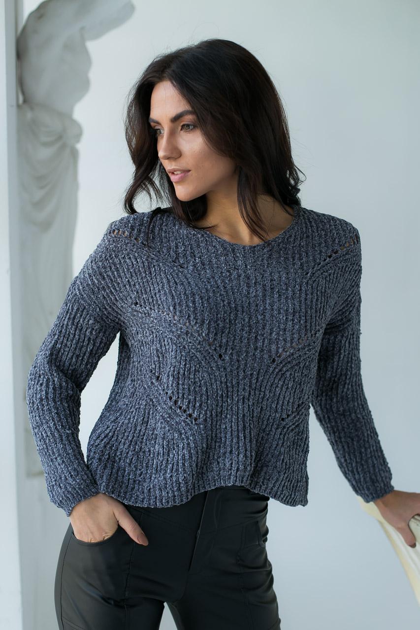 Плюшевый пуловер LUREX - серый цвет