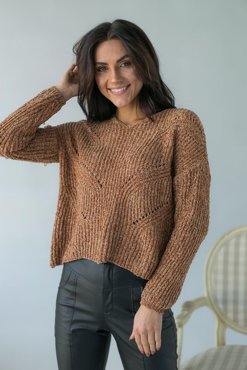 Плюшевый пуловер LUREX - св-коричн цвет
