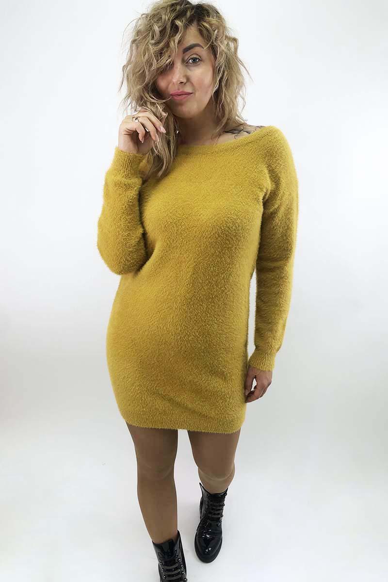 Платье-туника с блестящими завязками на спинке Moewy - горчичный цвет