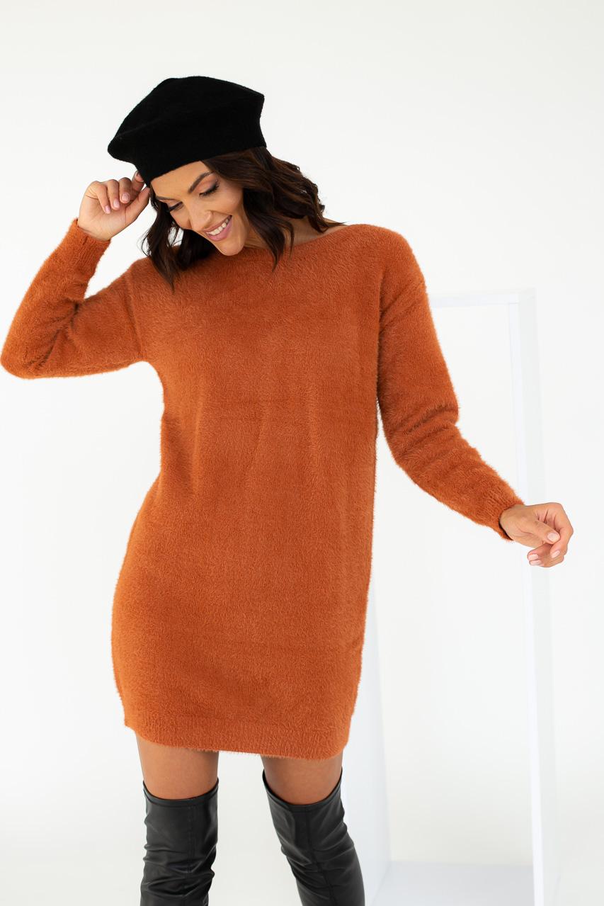 Платье-туника с блестящими завязками на спинке Moewy - терракотовый цвет