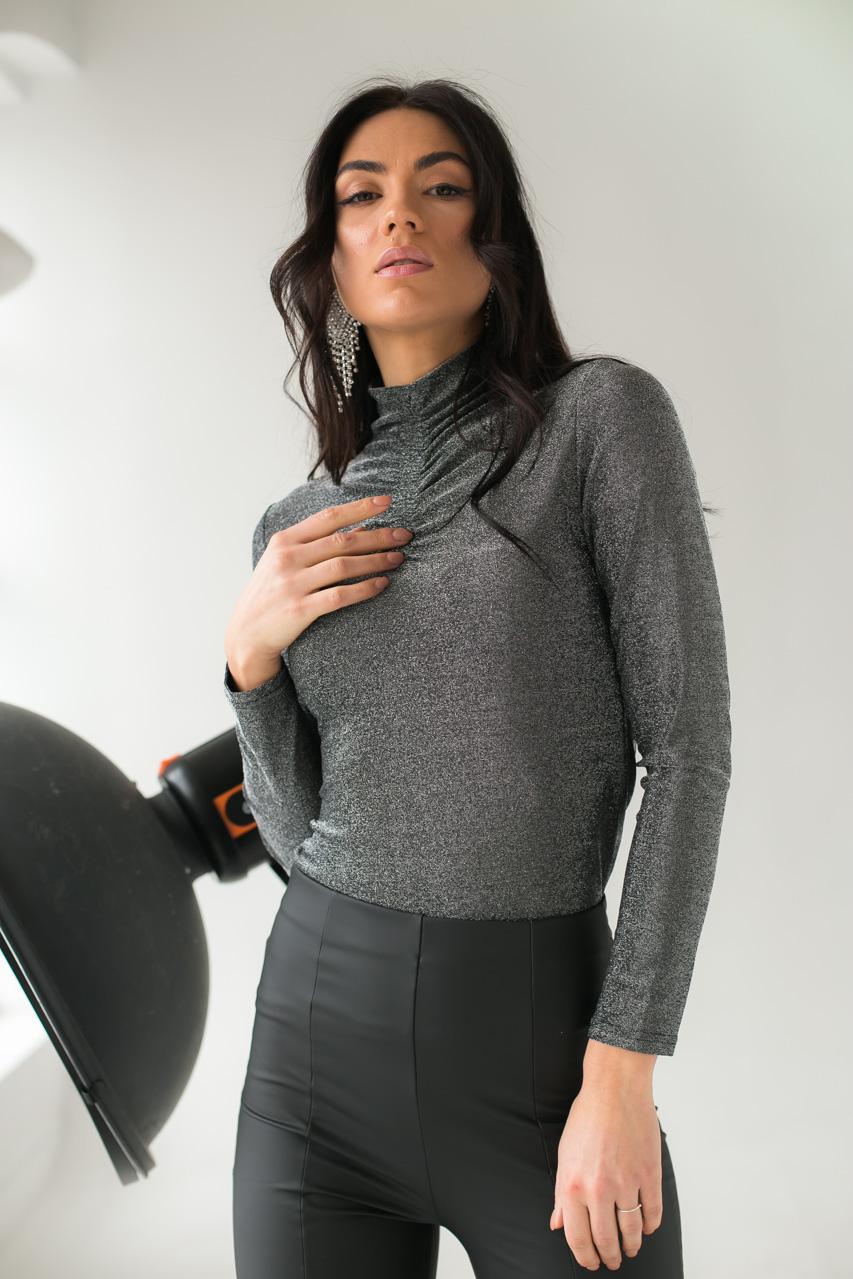 Нарядный гольф из люрекса LUREX - серебряный цвет