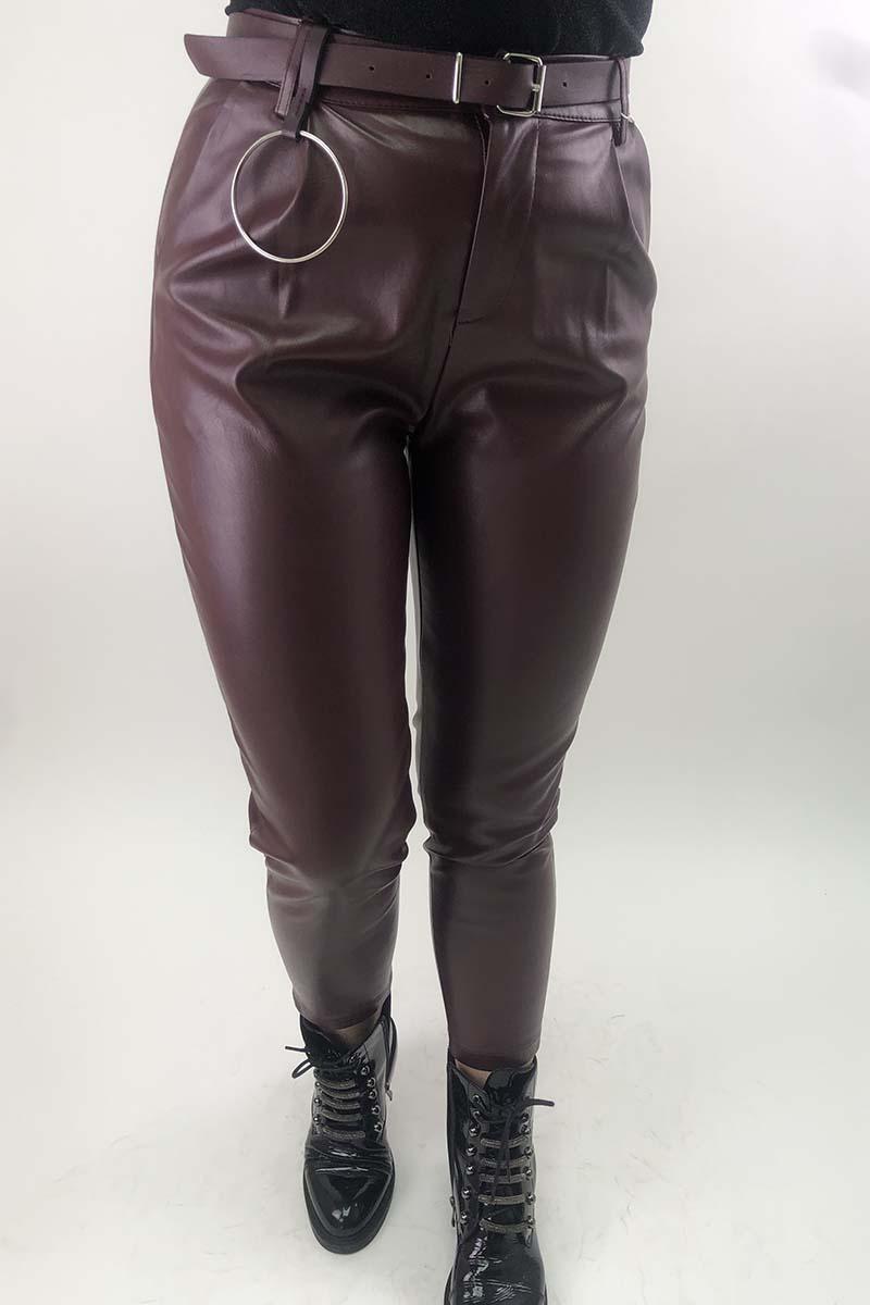 Кожаные штаны с кольцом на ремне MiLanSheng - бордо цвет
