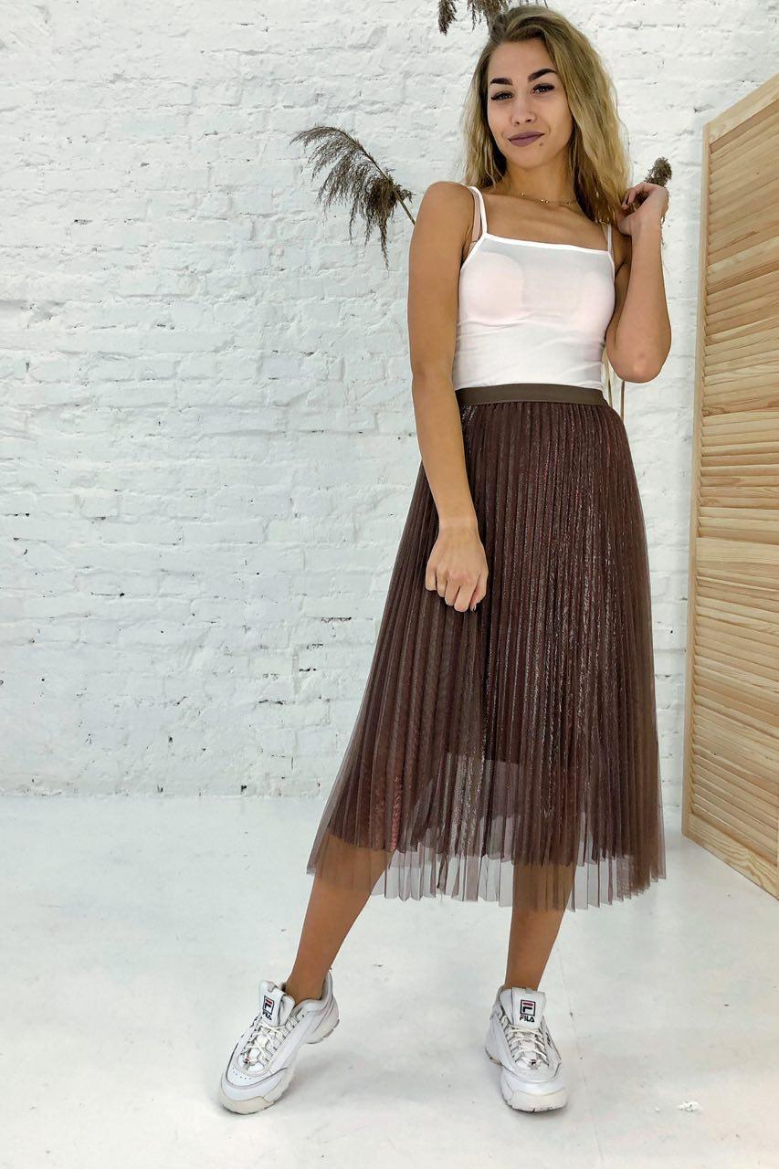 Трехслойная юбка плиссе из фатина люрекс LUREX - коричневый цвет