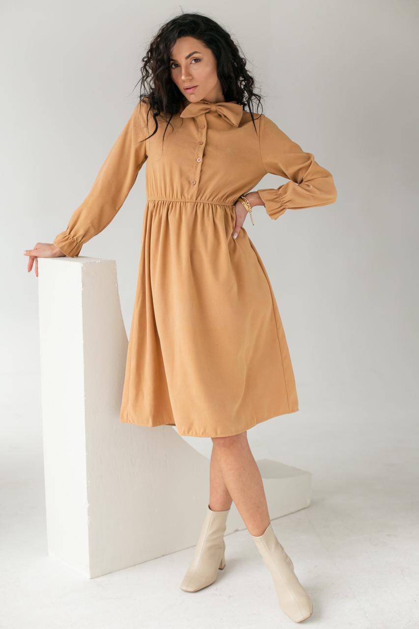 Платье на пуговицах с бантом  LUREX - бежевый цвет
