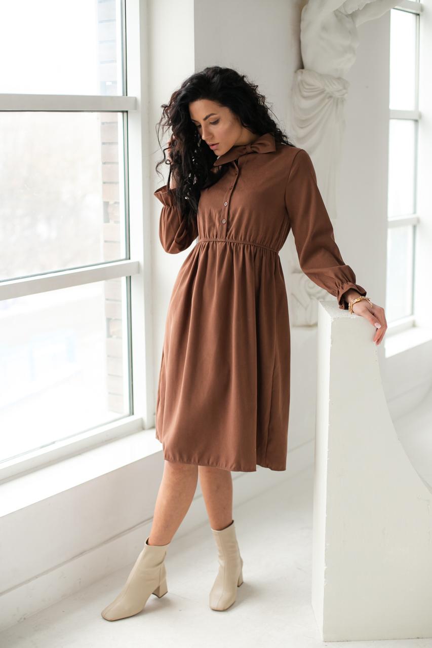 Платье на пуговицах с бантом  LUREX - коричневый цвет