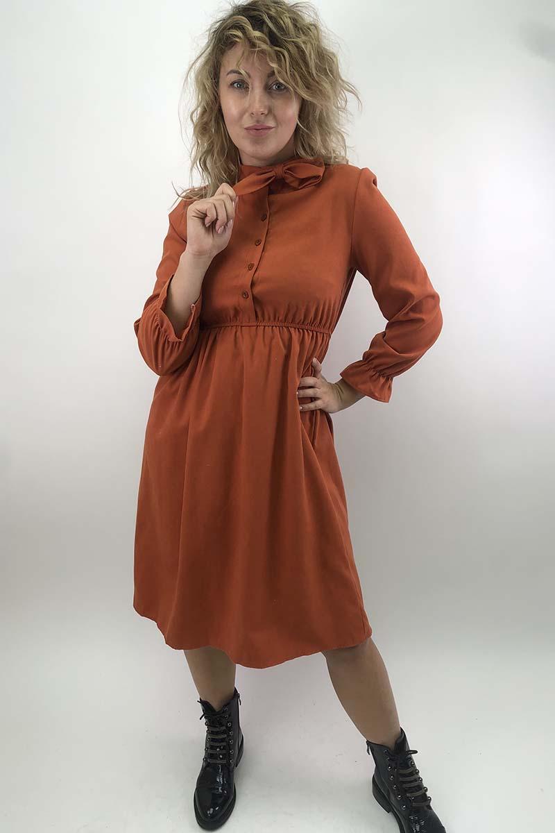 Платье на пуговицах с бантом  LUREX - терракотовый цвет