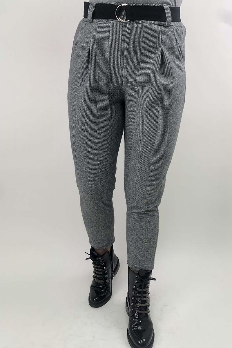 Суконные брюки в елочку JY - серый цвет