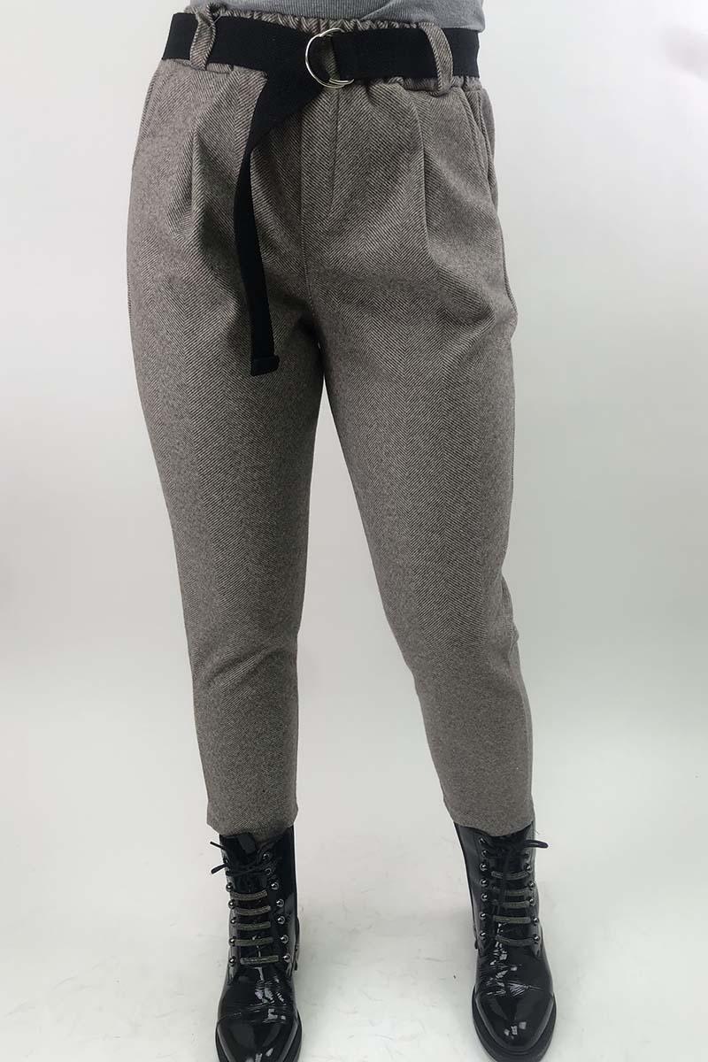 Суконные брюки в елочку JY - кофейный цвет