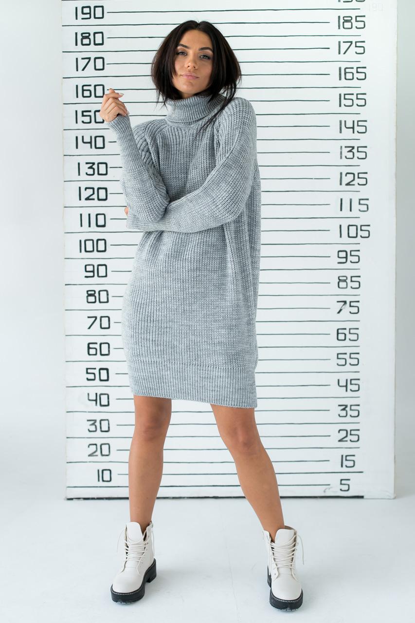 Платье-реглан с хомутом крупной вязки LUREX - серый цвет