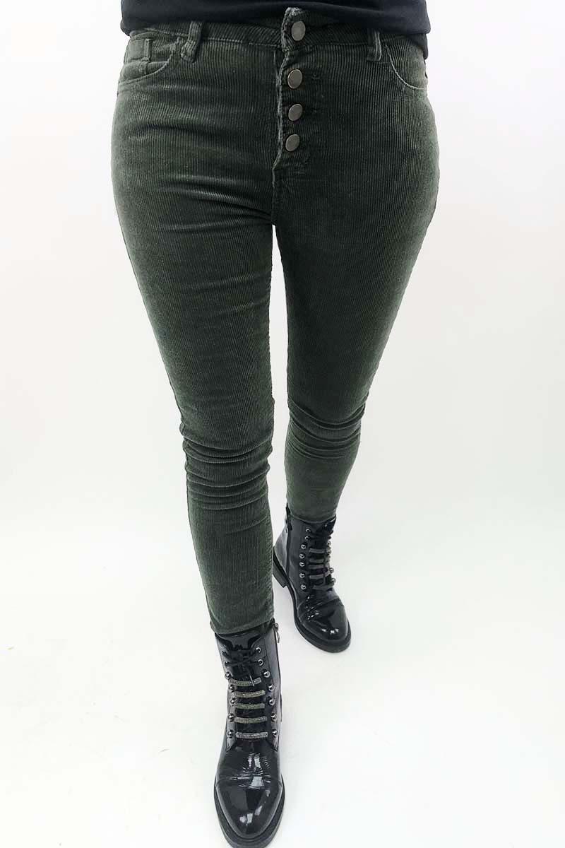Вельветовые брюки на пуговицах Sangogo - хаки цвет