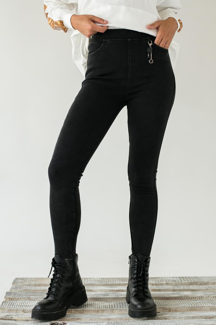 Стрейчевые плотные штаны на флисе FLNN - черный цвет