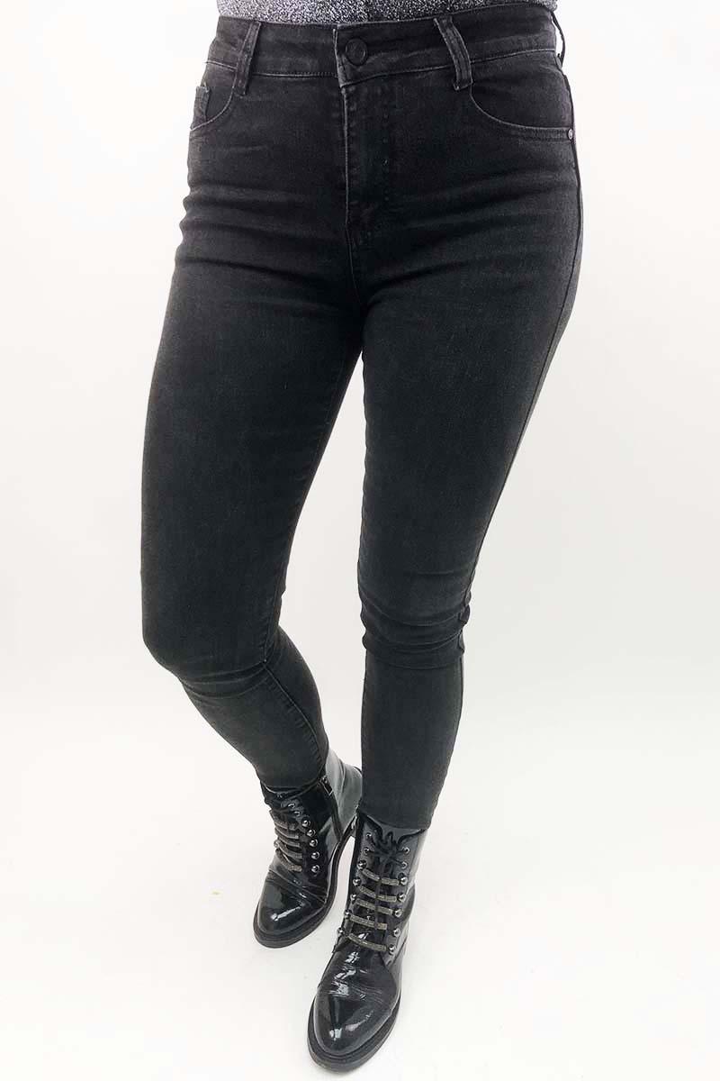 Стрейчевые черные джинсы с высокой посадкой Rong JoJo - черный цвет