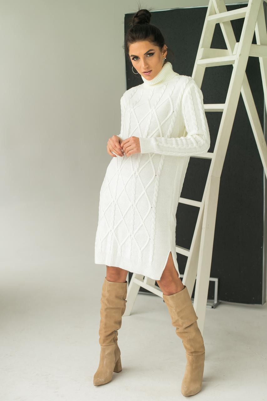 Платье-туника с узором косичек и ромбов LUREX - молочный цвет