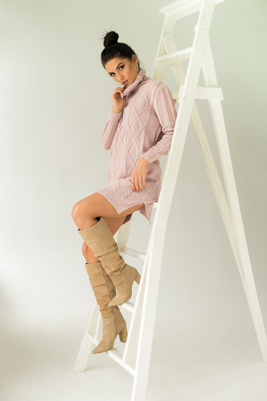 Платье-туника с узором косичек и ромбов LUREX - пудра цвет
