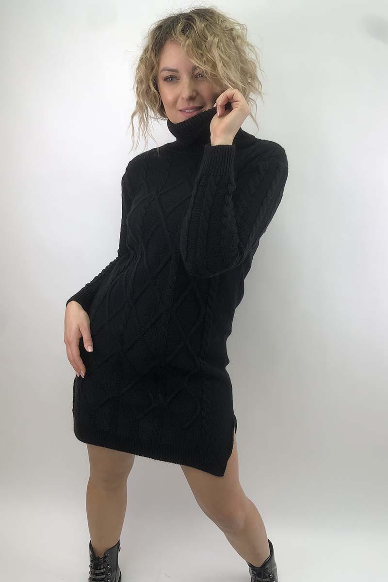 Платье-туника с узором косичек и ромбов LUREX - черный цвет