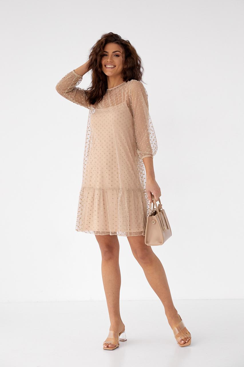 Нарядное платье-двойка с горохом на сетке LUREX - кофейный цвет