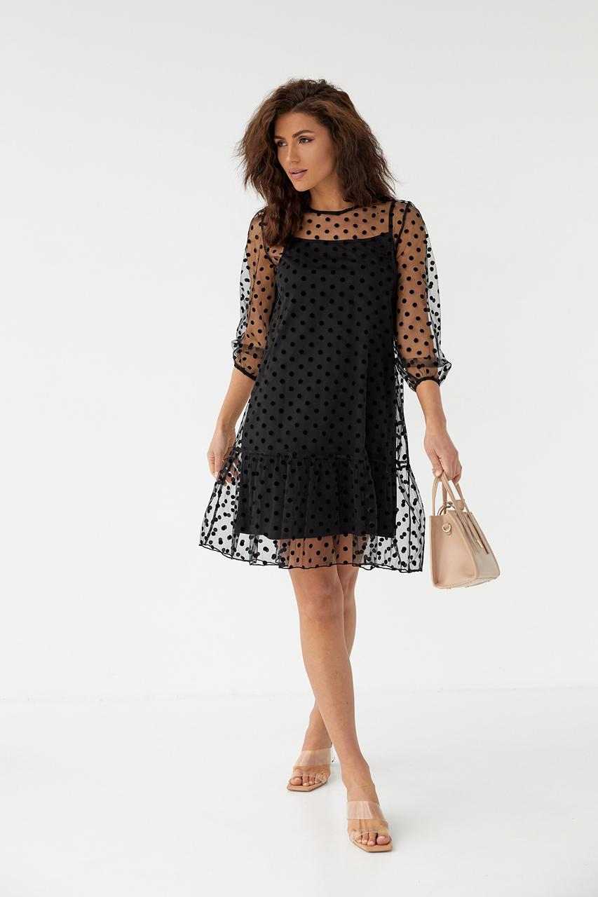 Нарядное платье-двойка с горохом на сетке LUREX - черный цвет