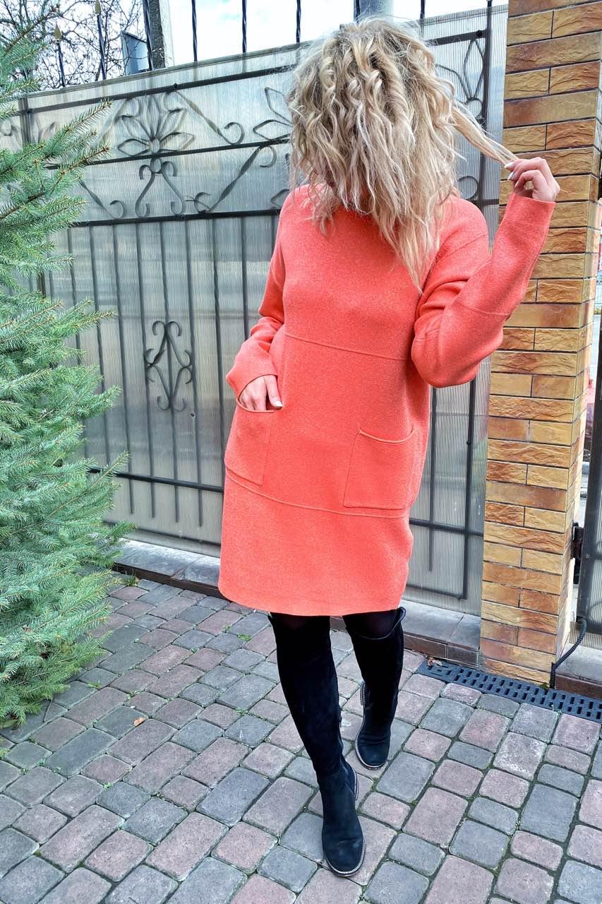 Платье-туника люрекс рубчики и карманы P-M - коралловый цвет