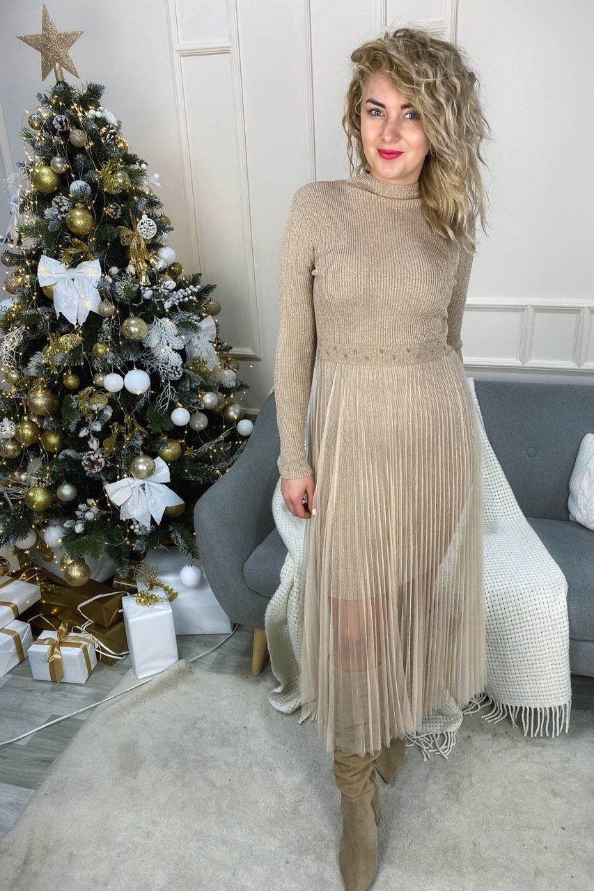 Романтическое облегающее платье из люрекса с фатиновой юбкой декорированное бусинами Jasmine - кофейный цвет