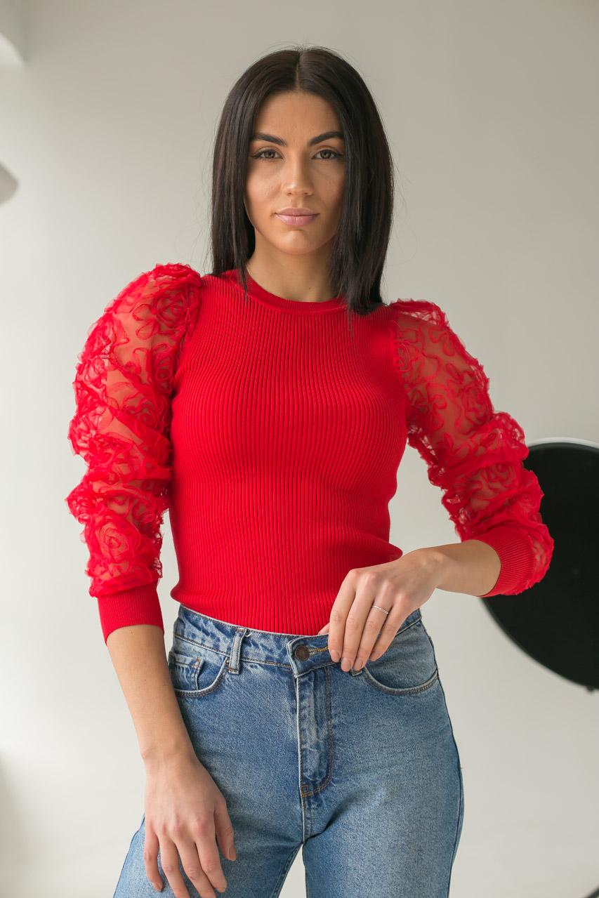 Облегающий джемпер лапша с фатиновыми рукавами  Lovie Look - красный цвет