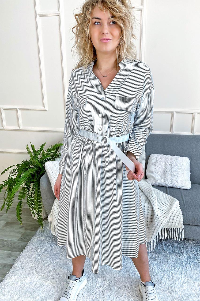 Стильное платье рубашка миди в полоску с поясом Aiyizu - белый цвет