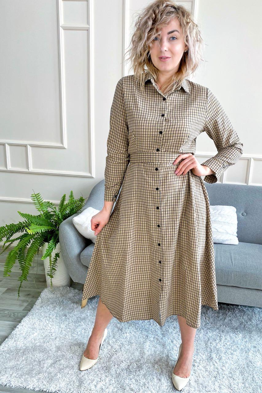 Платье рубашка длины миди принт клетка  LUREX - кофейный цвет