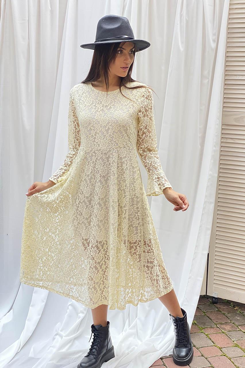Изысканное ажурное платье миди LUREX - молочный цвет