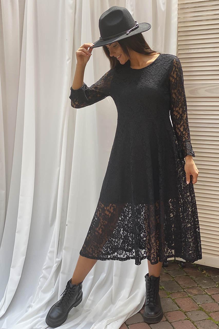Изысканное ажурное платье миди LUREX - черный цвет
