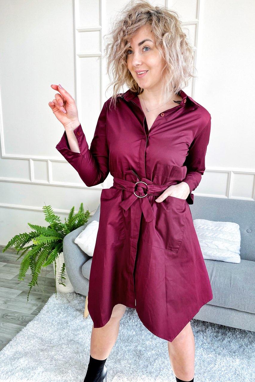 Платье рубашка с оригинальным подолом и карманами Yiyan Fashion - бордо цвет
