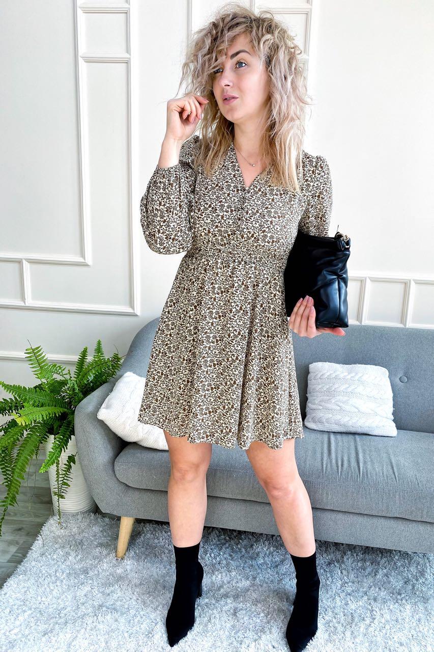 Утонченное шелковое платье с актуальным принтом M-D - кофейный цвет
