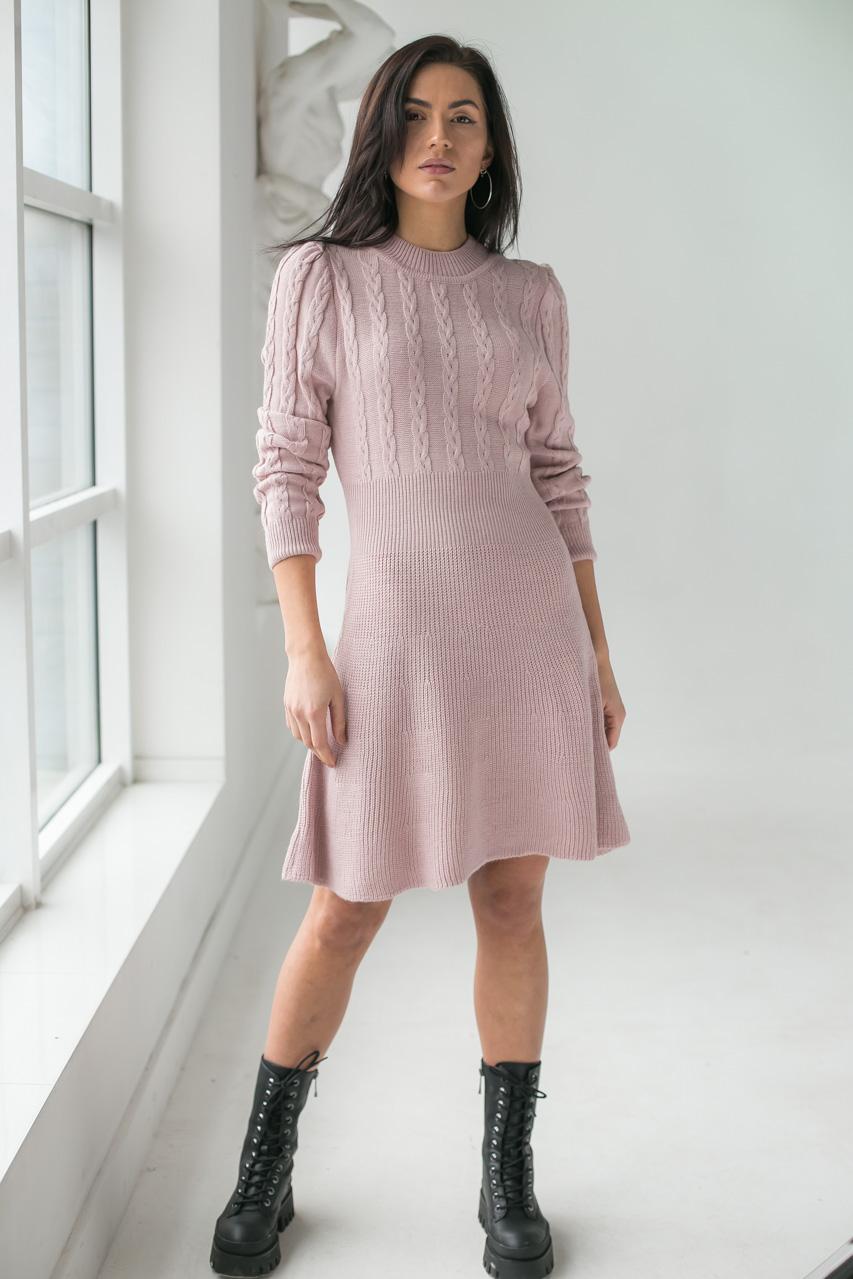 Теплое платье оригинального силуэта  LUREX - пудра цвет