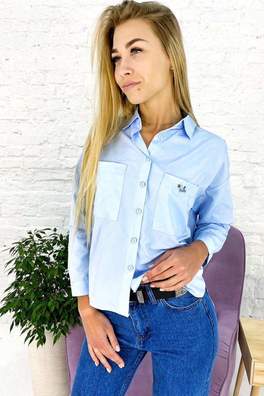 Элегантная рубашка с накладными карманами Crep - голубой цвет