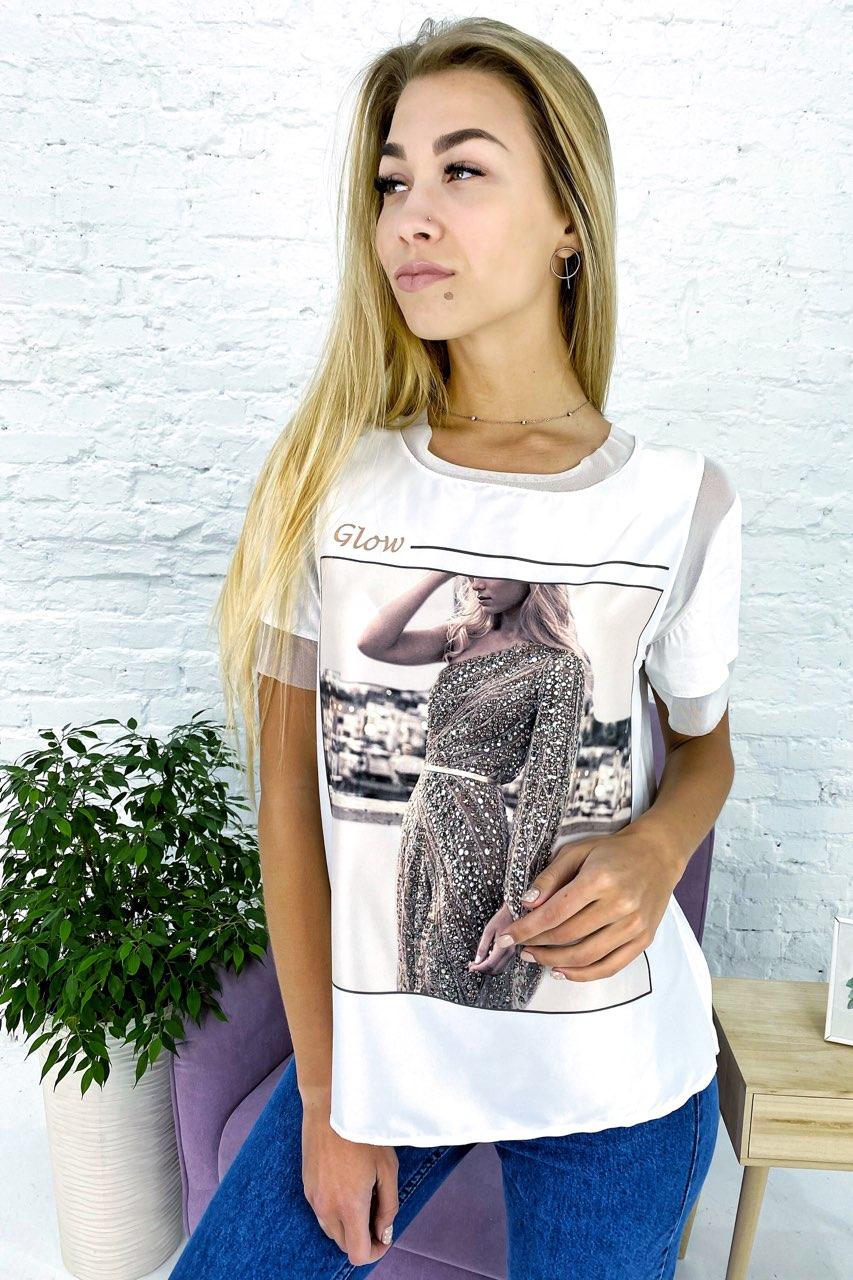 Модная футболка с принтом и вставками из евросетки Crep - белый цвет