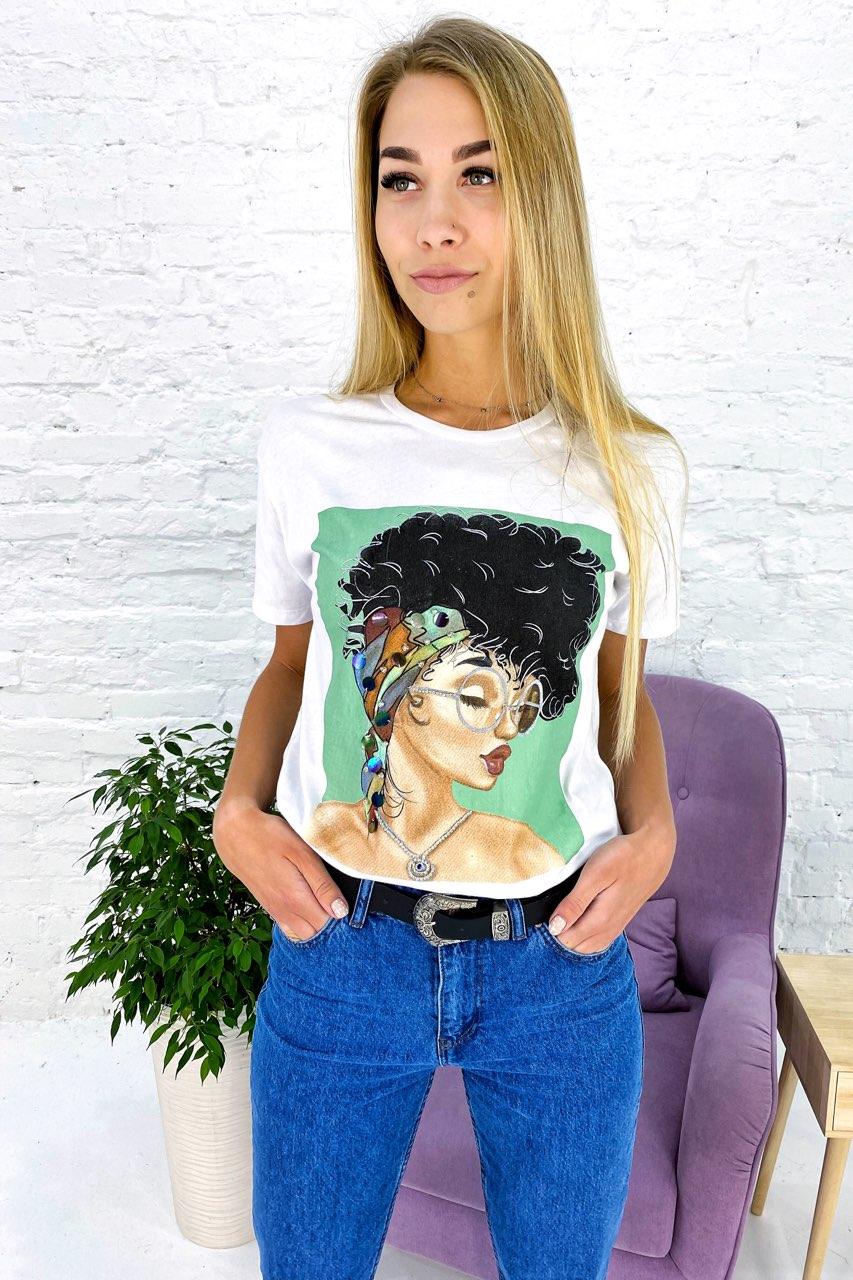 Молодежная футболка с принтом и блестящим декором Crep - белый цвет