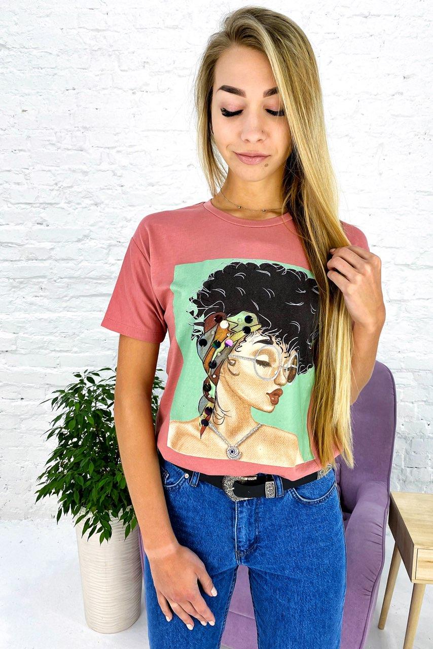 Молодежная футболка с принтом и блестящим декором Crep - пудра цвет