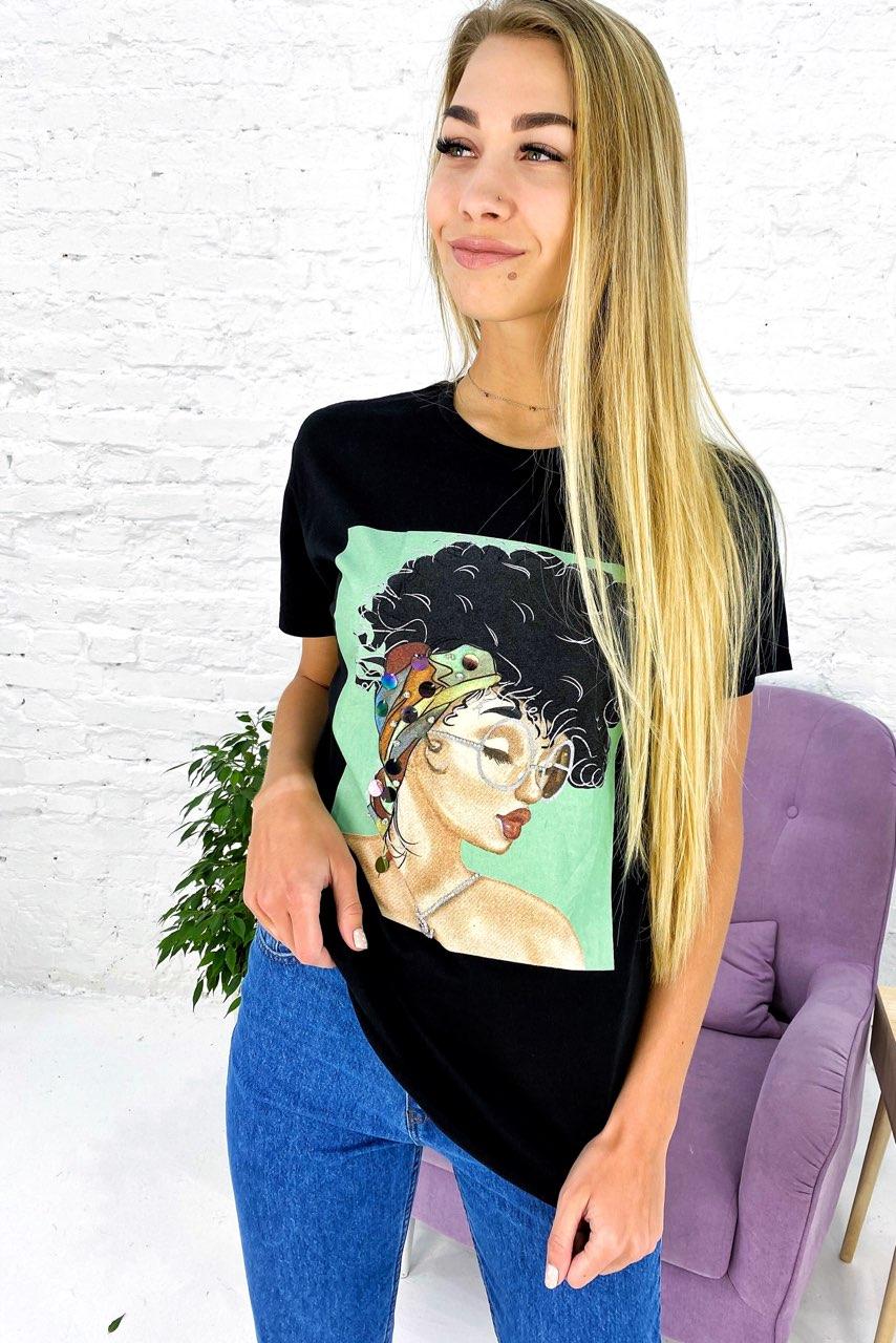 Молодежная футболка с принтом и блестящим декором Crep - черный цвет