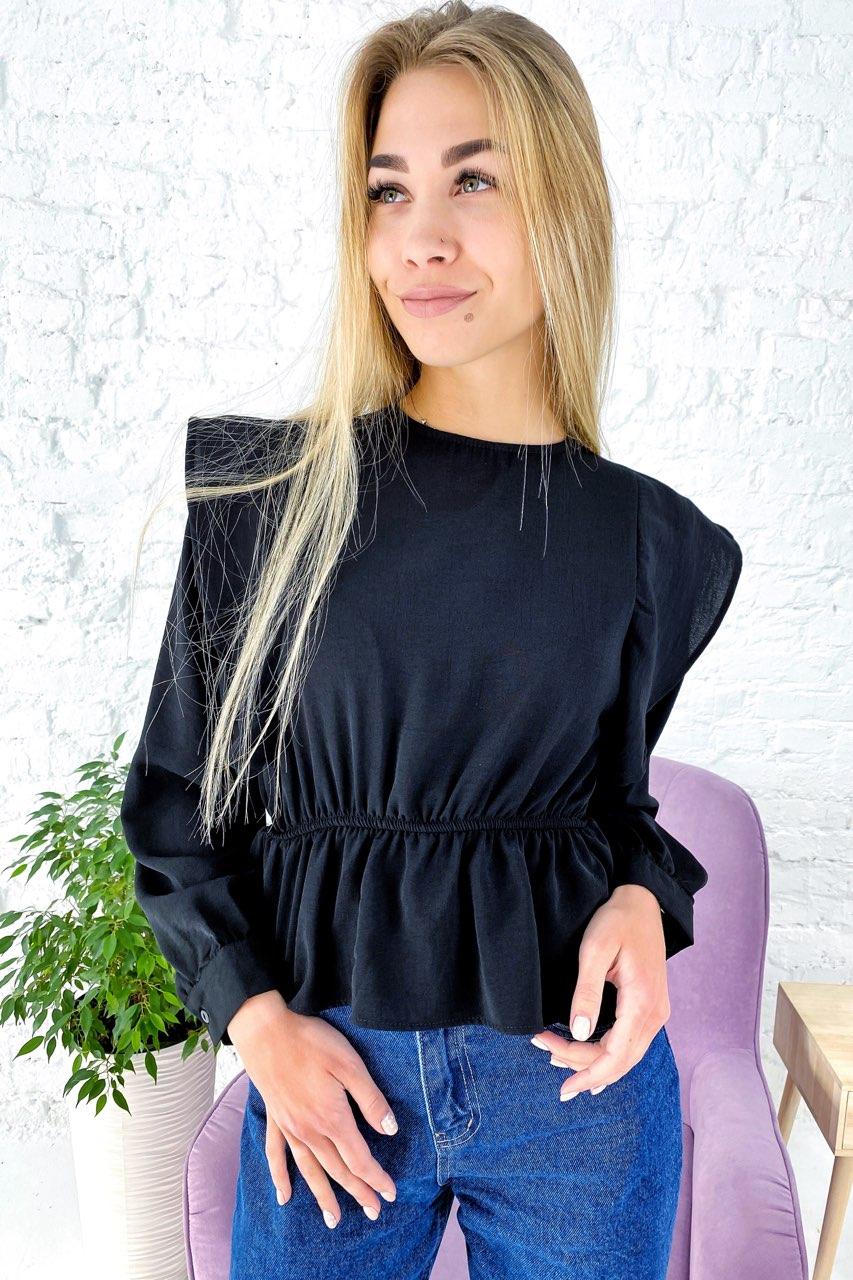 Однотонная блузка с воланами и баской и длинными рукавами Clew - черный цвет