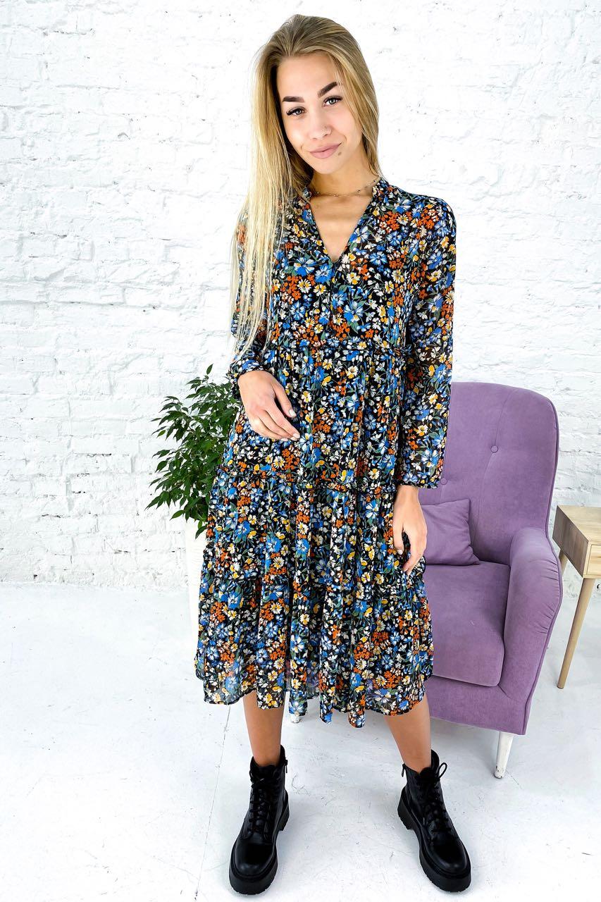 Крепдешиновое платье-двойка со стойкой и рюшами Clew - голубой цвет