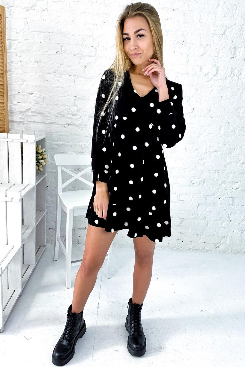 Бесподобное платье с завышенной талией и вышитыми горошками Crep - черный цвет