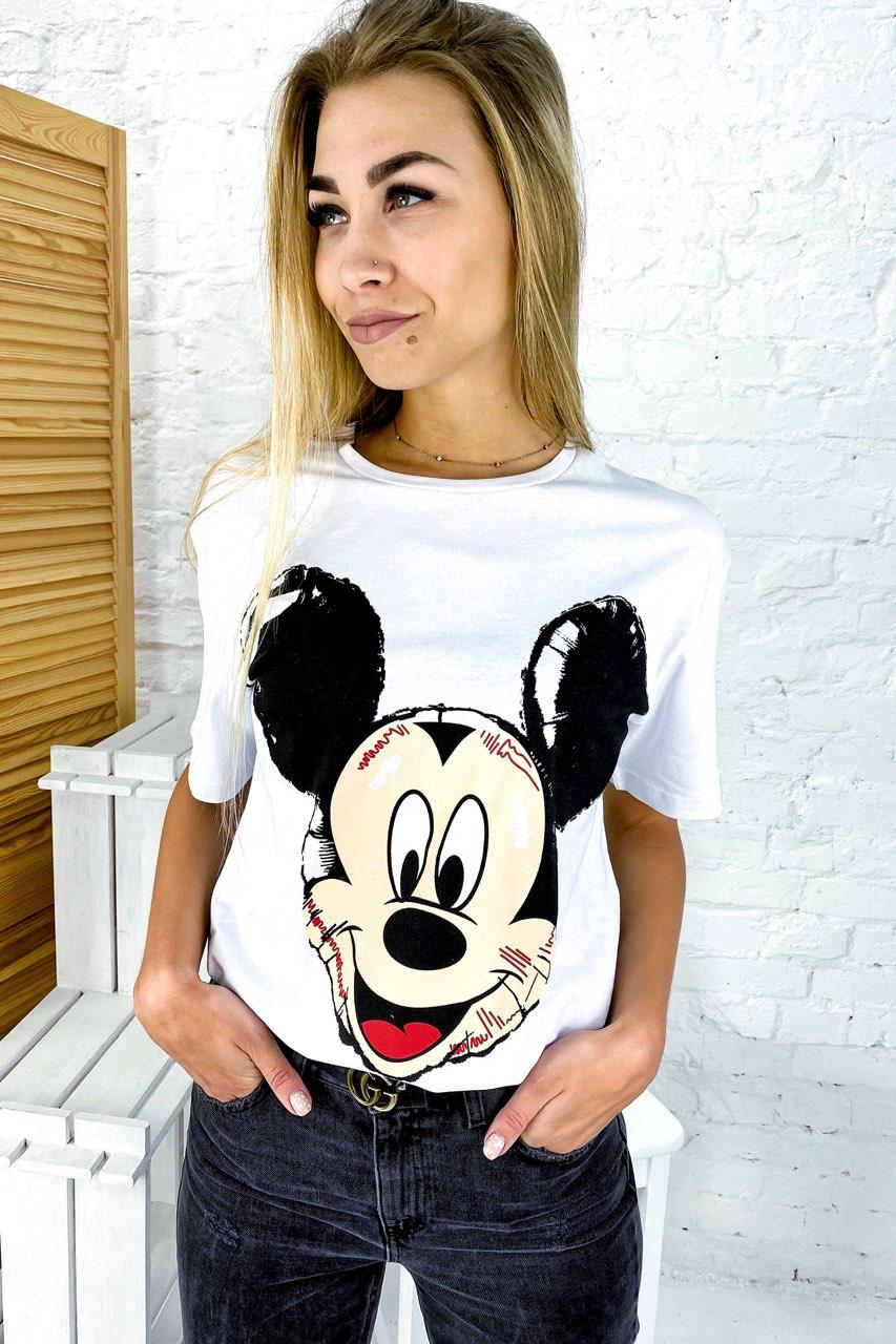 Молодежная футболка с Микки фасона oversize LUREX - белый цвет