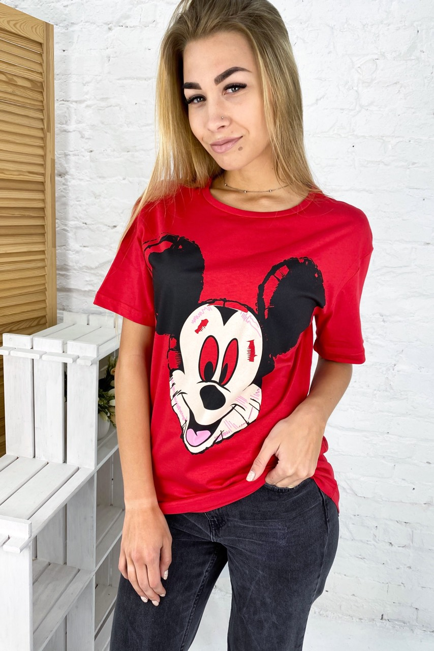 Молодежная футболка с Микки фасона oversize LUREX - красный цвет