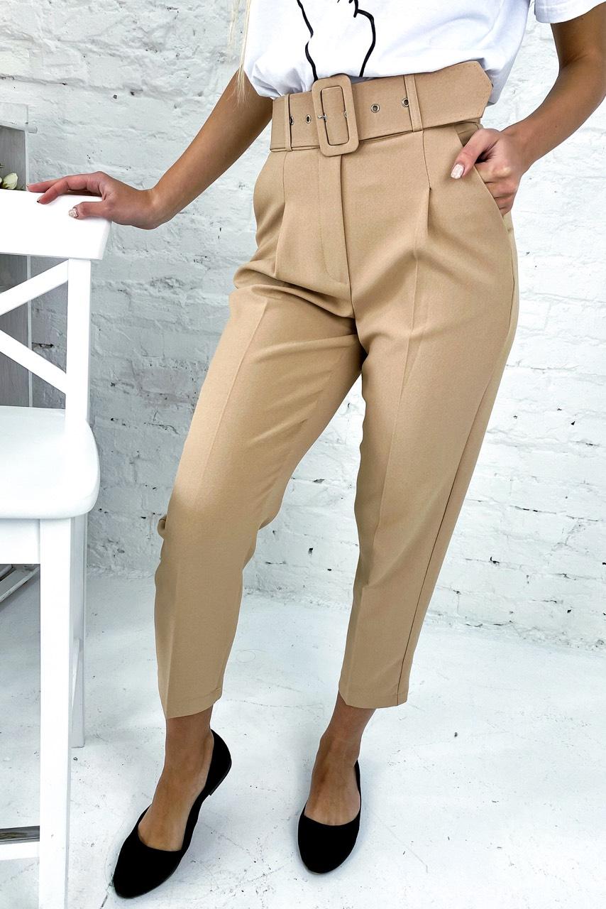 Трендовые брюки с высокой талией и поясом  PERRY - бежевый цвет